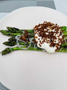 Grilled Spilmans asparagus, Berkswell cheese mousse, chive, capers and sourdough crumb